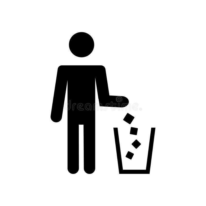 Simbolo dell'immondizia Icona dei rifiuti Illustrazione piana di vettore illustrazione vettoriale