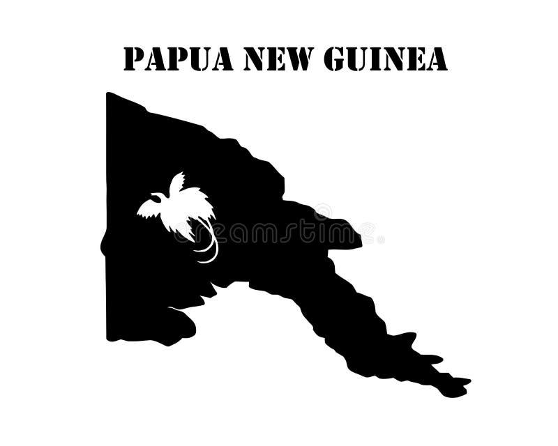 Simbolo dell'isola della Papuasia Nuova Guinea e della mappa illustrazione di stock