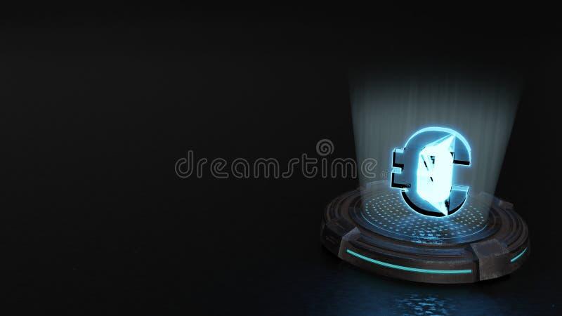 simbolo dell'ologramma 3d di euro icona rendere fotografia stock