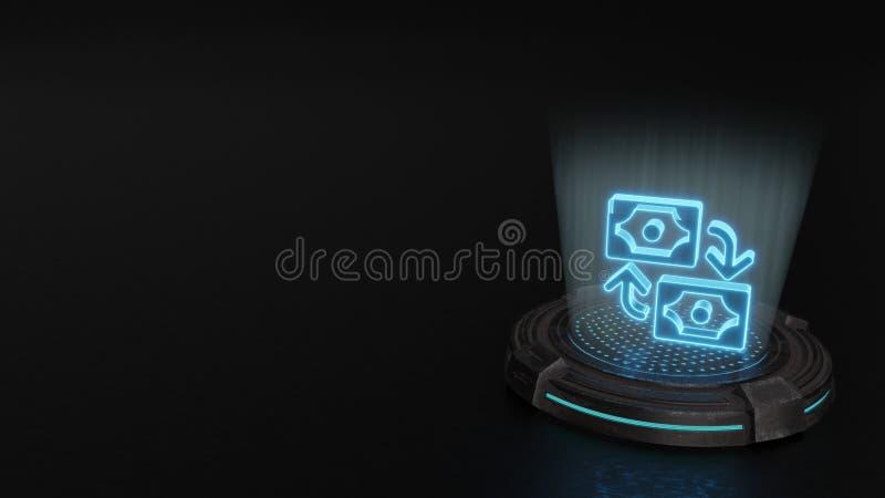 simbolo dell'ologramma 3d dell'icona di scambio 1 rendere immagini stock libere da diritti
