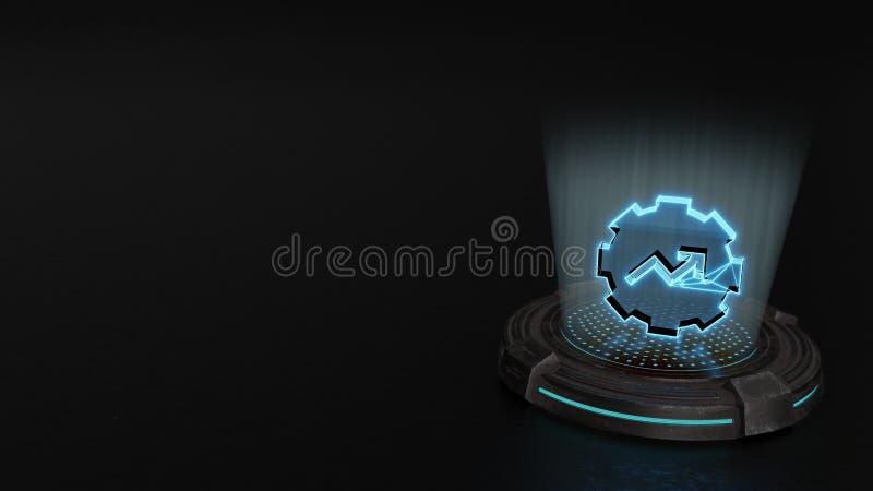 simbolo dell'ologramma 3d dell'icona dell'ingranaggio rendere immagine stock libera da diritti