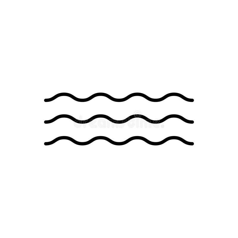 Simbolo dell'ondulazione dell'acqua dell'icona di vettore di Wave per progettazione grafica, logo, sito Web, media sociali, app m illustrazione di stock