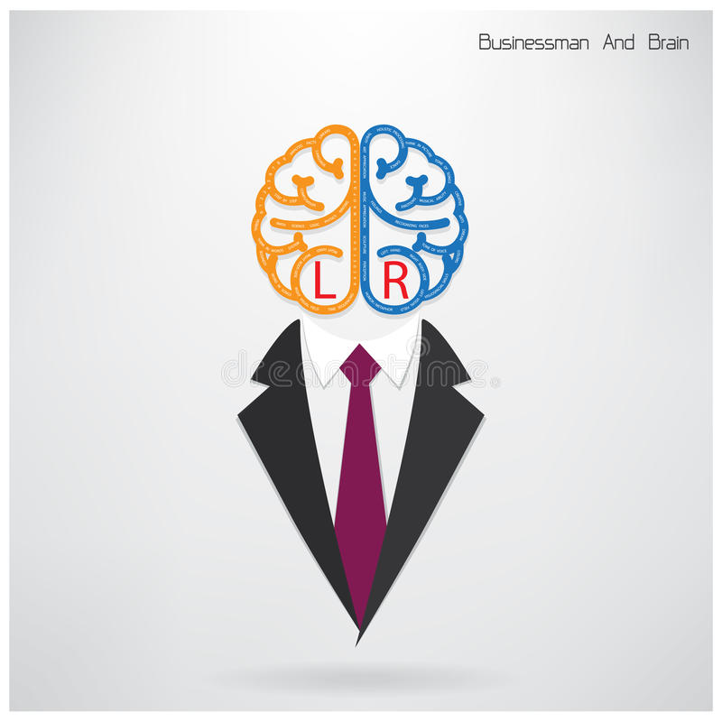 Simbolo dell'uomo d'affari con il segno destro e sinistro del cervello royalty illustrazione gratis
