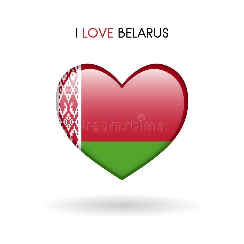 Simbolo della Bielorussia di amore Inbandieri l'icona lucida del cuore su un fondo bianco illustrazione vettoriale