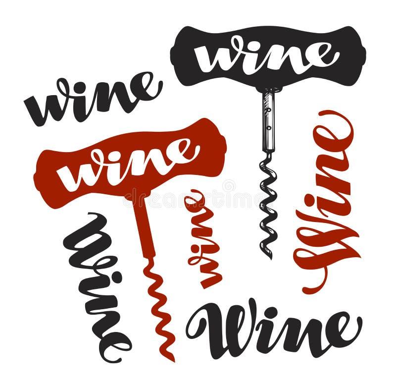 Simbolo della cavaturaccioli del vino Icone della cantina Illustrazione di vettore royalty illustrazione gratis
