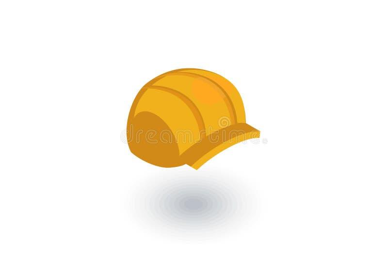 Simbolo della costruzione, icona piana isometrica del casco vettore 3d illustrazione vettoriale