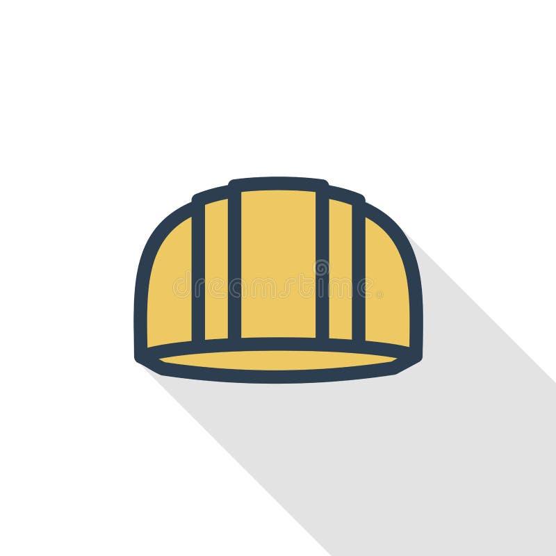 Simbolo della costruzione, linea sottile icona piana del casco di colore Simbolo lineare di vettore Progettazione lunga variopint illustrazione vettoriale