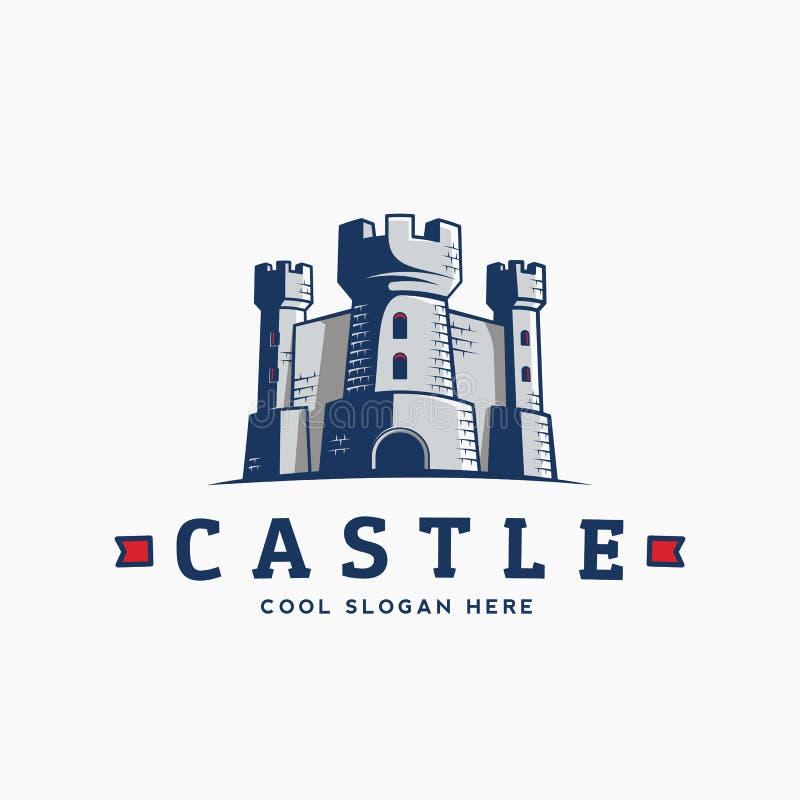 Simbolo della fortezza Icona di regno Siluetta della torre con le bandiere e illustrazione di stock