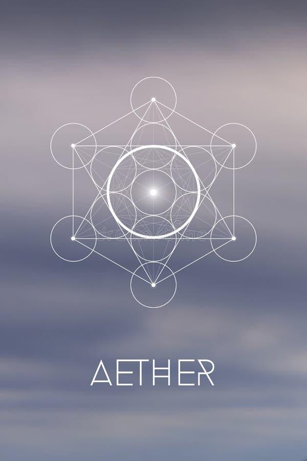 Simbolo della geometria dell'elemento sacro di spirito o di etere dentro il cubo di Metatron ed il fiore di vita davanti a fondo  royalty illustrazione gratis