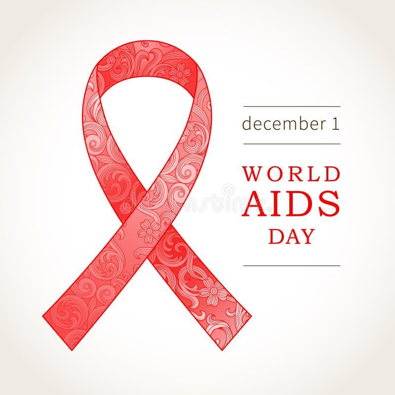 Simbolo della Giornata mondiale contro l'AIDS, il 1° dicembre, nastro rosso illustrazione di stock
