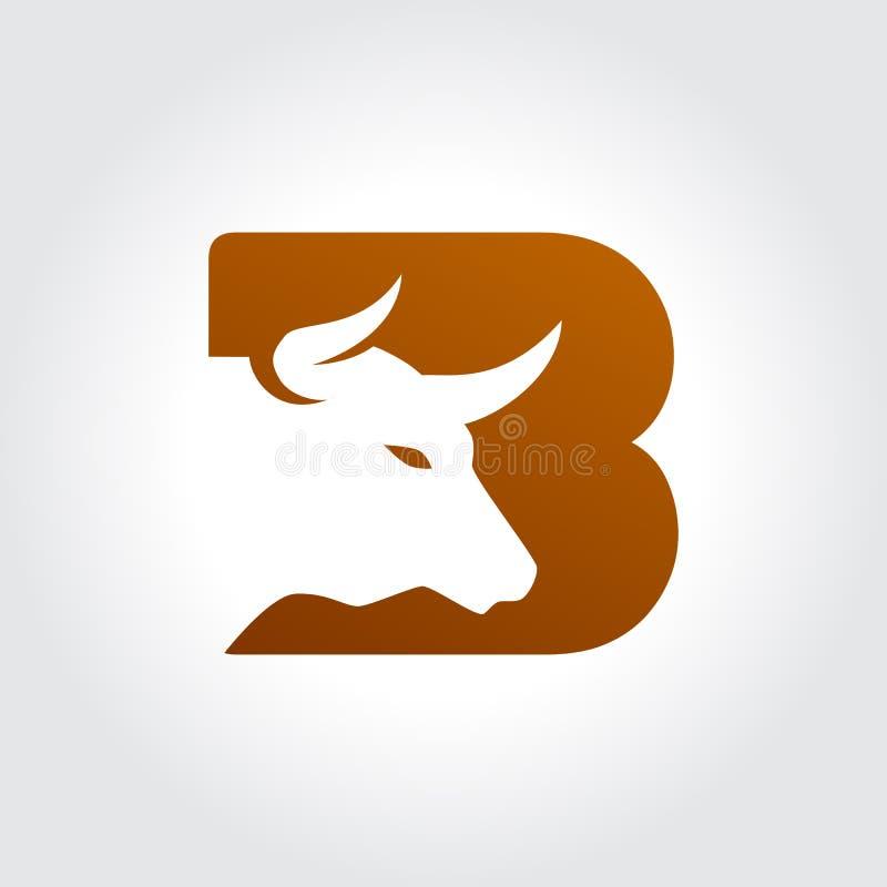 Simbolo della lettera B con progettazione della testa del toro royalty illustrazione gratis