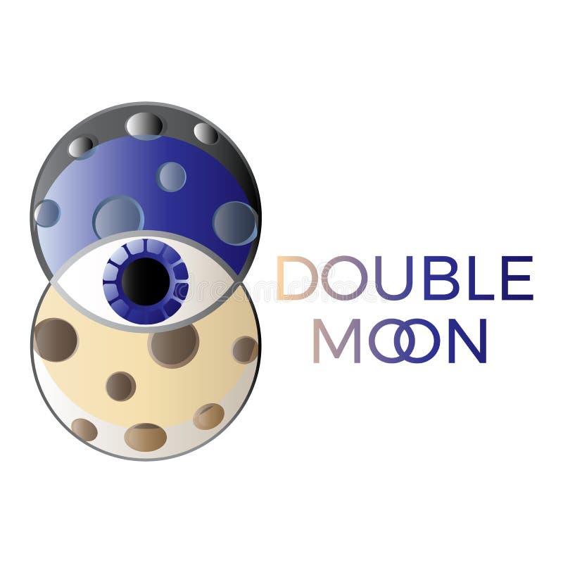 Simbolo della luna del doppio di logo di astrologia, stile d'avanguardia e concetto iniziale illustrazione vettoriale