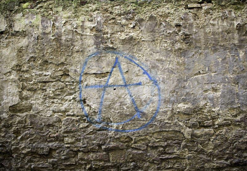 Simbolo della parete di anarchia fotografie stock libere da diritti