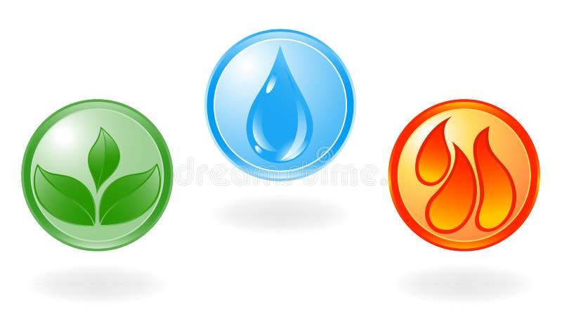 Simbolo della pianta, dell'acqua e di fuoco. royalty illustrazione gratis