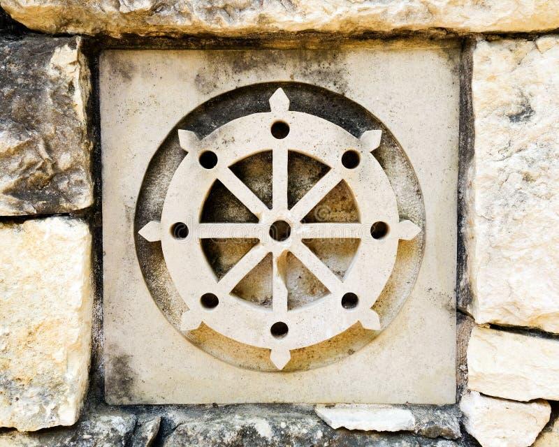 Simbolo della ruota del buddismo immagini stock libere da diritti