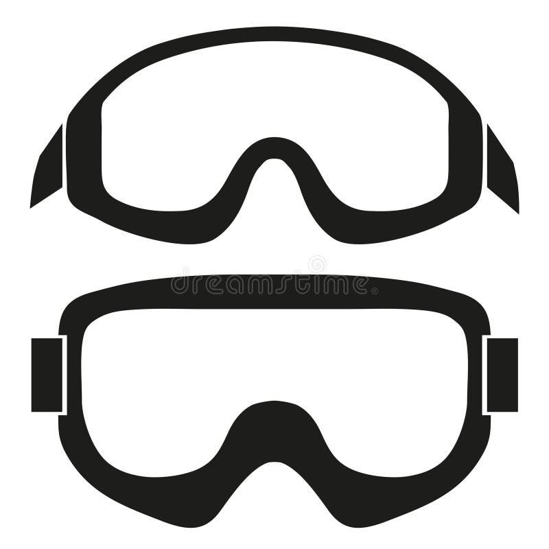Simbolo della siluetta degli occhiali di protezione classici dello sci dello snowboard illustrazione vettoriale