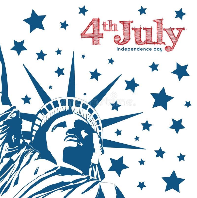 Simbolo della statua della libertà di libertà e della democrazia indipendenza illustrazione vettoriale