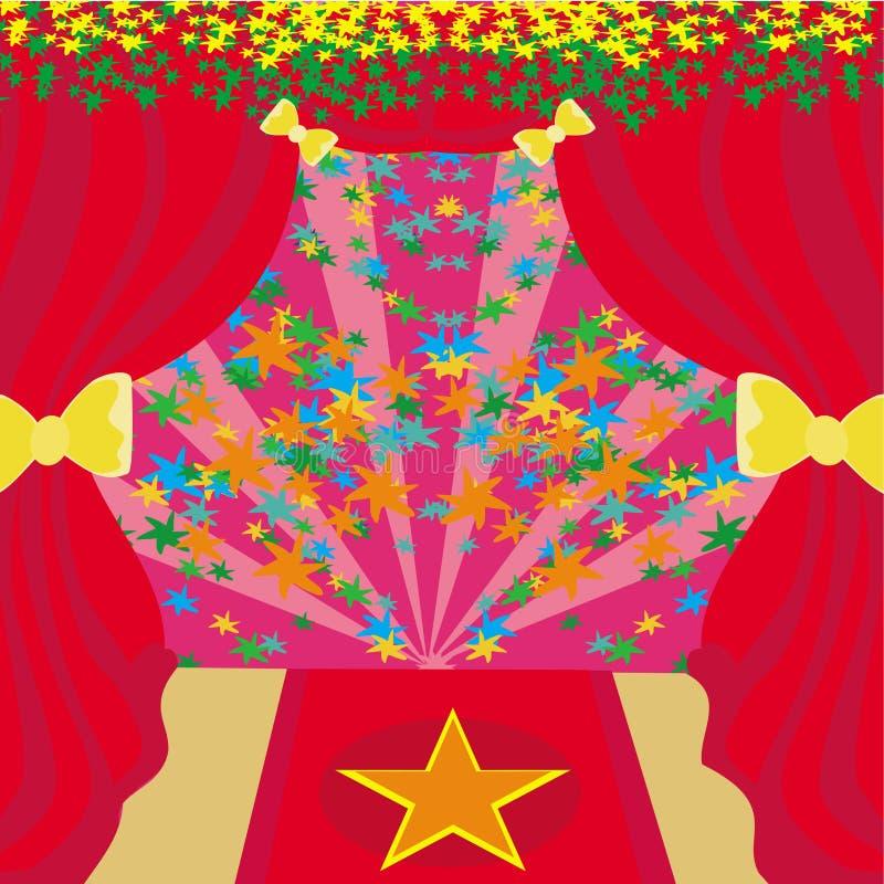 Simbolo della stella del cinema su un tappeto rosso che rappresenta primo ministro di Hollywood royalty illustrazione gratis