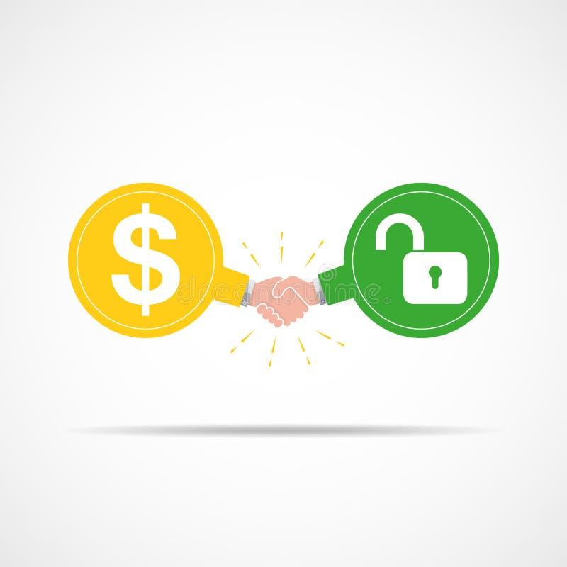Simbolo della stretta di mano fra i simboli di dollaro e la serratura Illustrazione di vettore illustrazione di stock