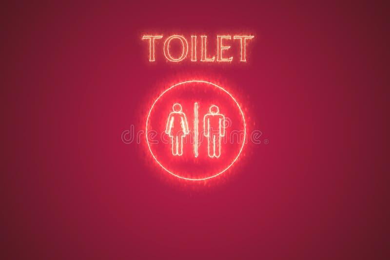 Simbolo della toilette con l'illustrazione di effetto di fuoco royalty illustrazione gratis