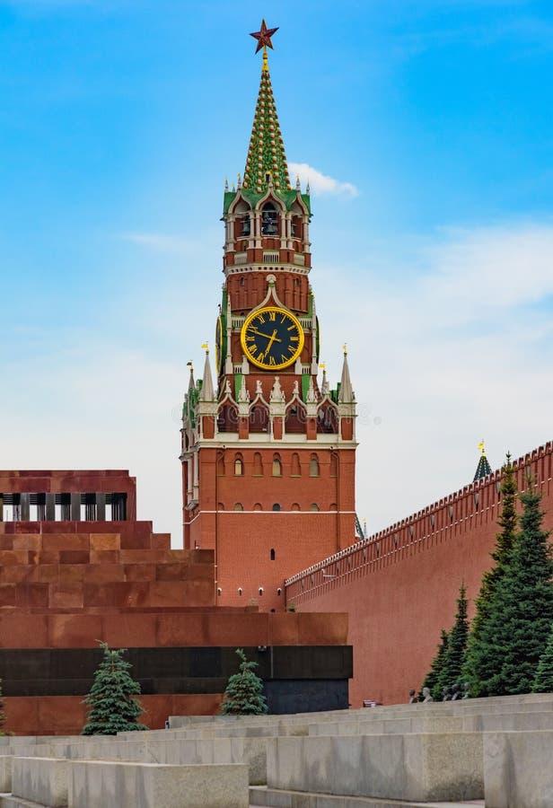 Simbolo della torre di orologio di kremlin del quadrato rosso di Mosca della Russia immagine stock libera da diritti