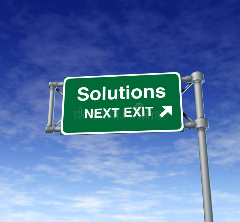 Simbolo della via della strada principale del segno dell'uscita di autostrada senza pedaggio delle soluzioni immagine stock libera da diritti