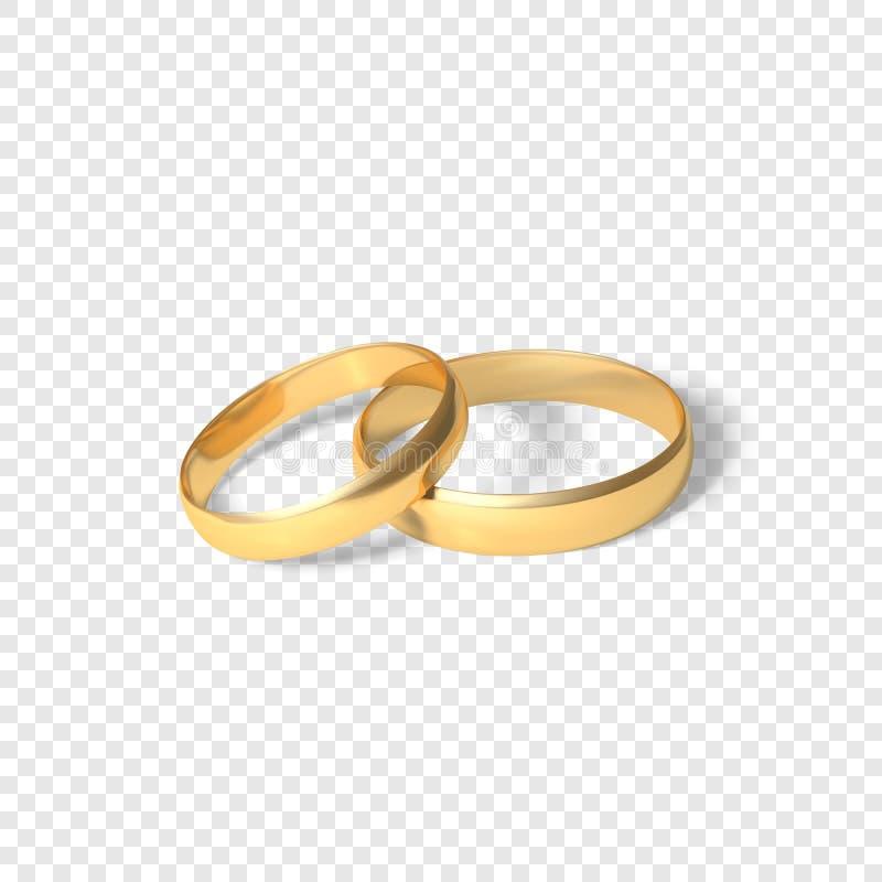 Simbolo delle coppie di matrimonio degli anelli dorati Due anelli di oro Illustrazione di vettore isolata su fondo trasparente illustrazione di stock