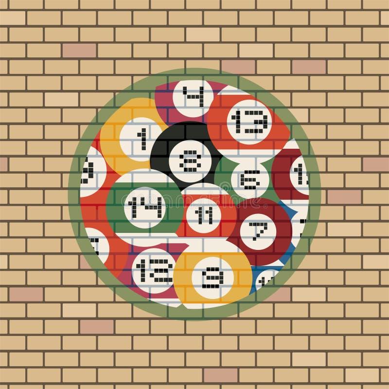 Simbolo delle palle di biliardo in muro di mattoni illustrazione vettoriale