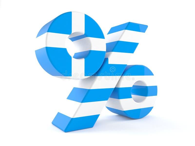 Simbolo delle percentuali con la bandiera greca illustrazione di stock
