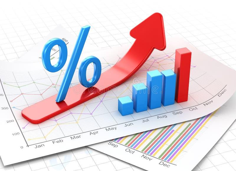 Simbolo delle percentuali e grafico di affari su carta finanziaria royalty illustrazione gratis