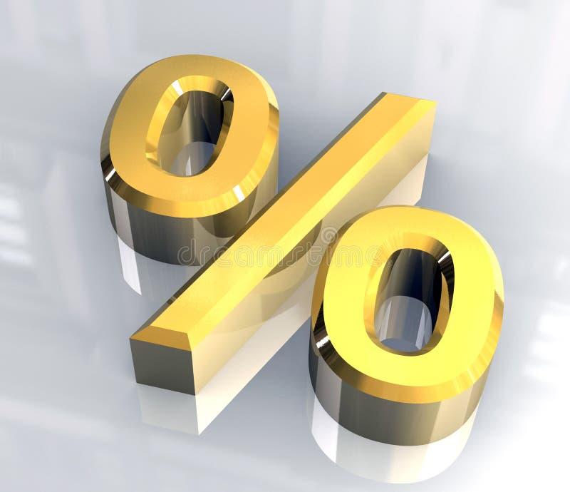 Simbolo delle percentuali in oro (3D)