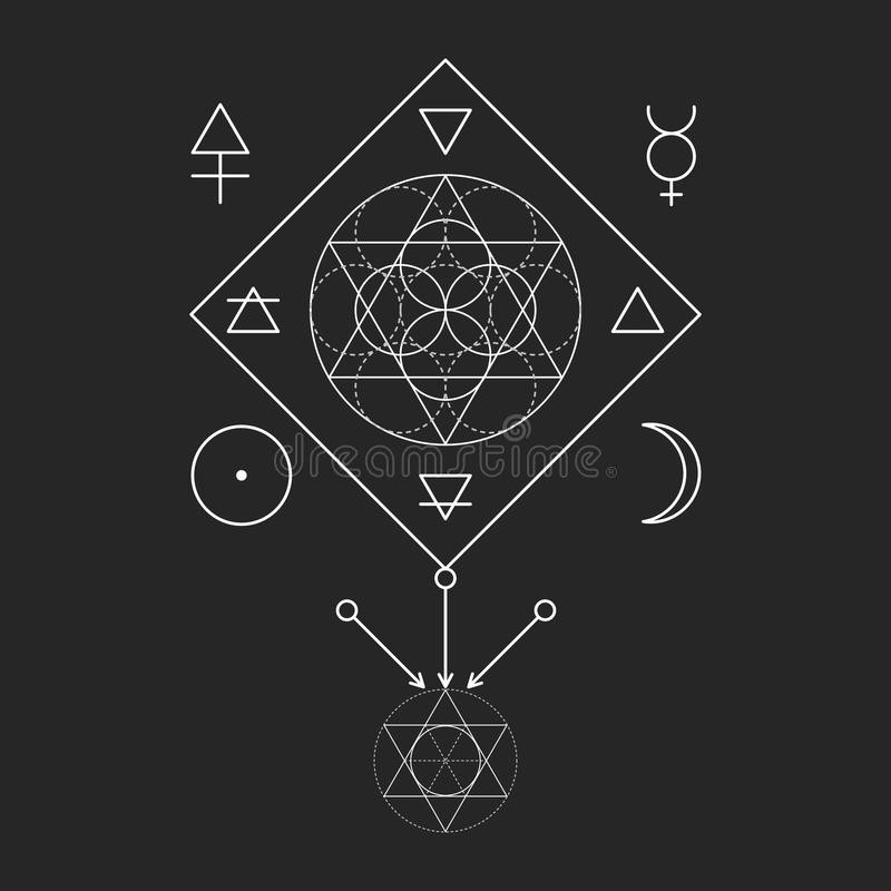 Simbolo di alchemia e della geometria sacra Tre innescano: spirito, anima, corpo e 4 elementi di base: Terra, acqua, aria, fuoco illustrazione vettoriale