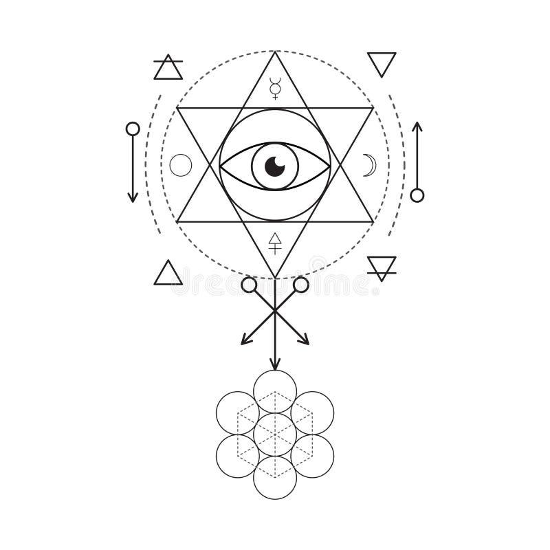 Simbolo di alchemia e della geometria sacra Tre innescano: spirito, anima, corpo e 4 elementi di base: Terra, acqua, aria, fuoco illustrazione di stock