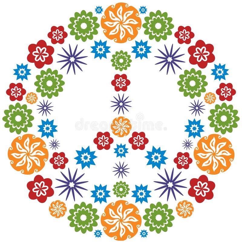 Simbolo di amore e di pace reso dei fiori - multicolore royalty illustrazione gratis