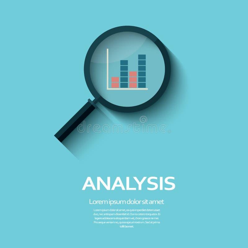 Simbolo di analisi commerciale con l'icona ed il grafico della lente d'ingrandimento royalty illustrazione gratis