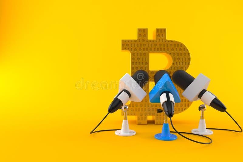 Simbolo di Bitcoin con i microfoni di intervista illustrazione di stock