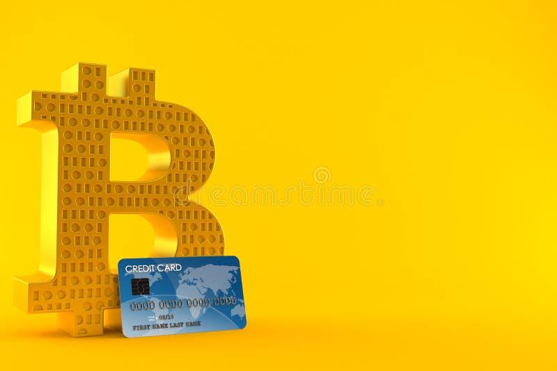 Simbolo di Bitcoin con la carta di credito illustrazione vettoriale