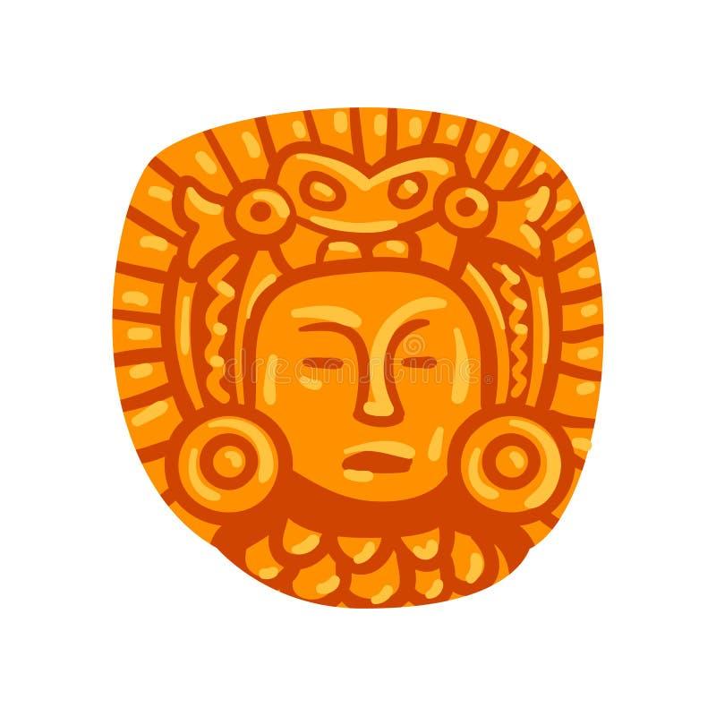 Simbolo di civilizzazione di maya, illustrazione tribale americana di vettore dell'elemento della cultura su un fondo bianco royalty illustrazione gratis