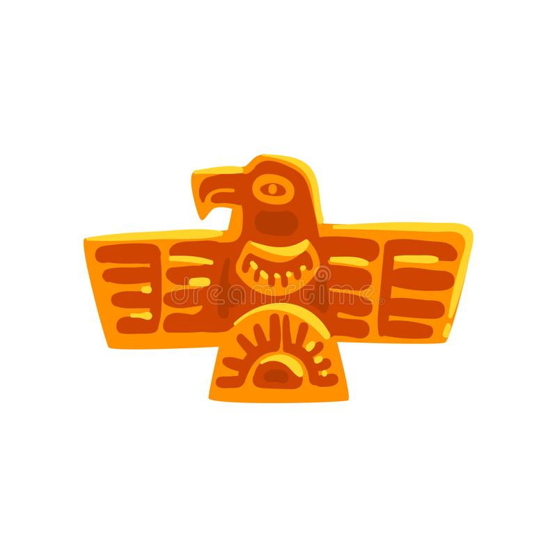 Simbolo di civilizzazione di maya, uccello antico del totem, illustrazione tribale americana di vettore dell'elemento della cultu illustrazione vettoriale