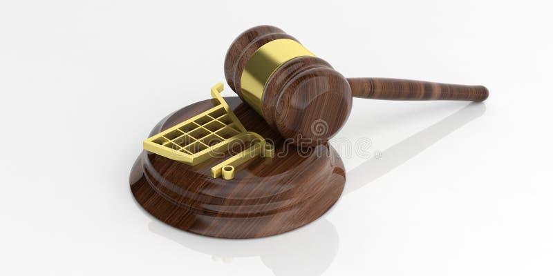 simbolo di commercio elettronico della rappresentazione 3d e un martelletto dell'asta illustrazione di stock