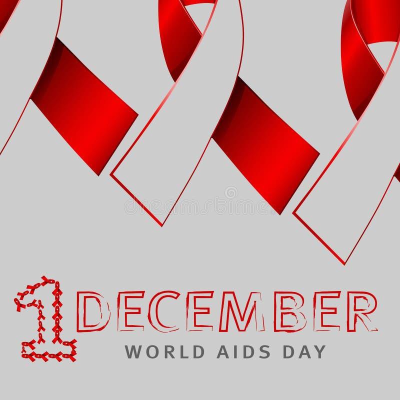 Simbolo di concetto di giorno dell'AIDS dei mondi di dicembre con testo ed il nastro rosso di consapevolezza degli aiuti e con ap illustrazione di stock