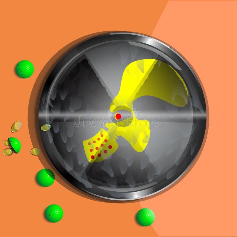 Simbolo di contaminazione radioattiva illustrazione vettoriale