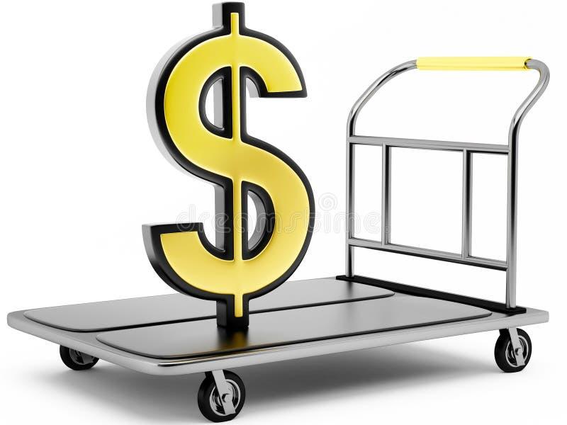 simbolo di dollaro 3D su un carrello illustrazione di stock