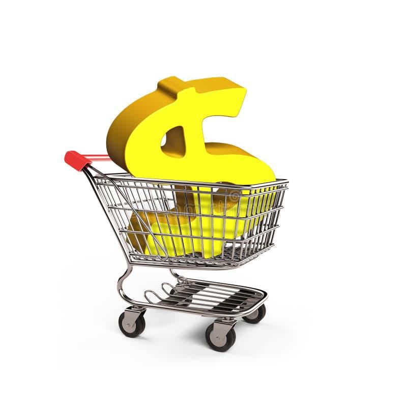 Simbolo di dollaro dorato in carrello, illustrazione 3D illustrazione vettoriale