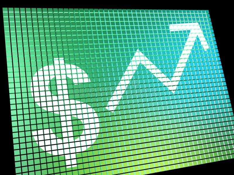 Simbolo di dollaro e monitor alto della freccia come simbolo per i guadagni o Profi illustrazione vettoriale