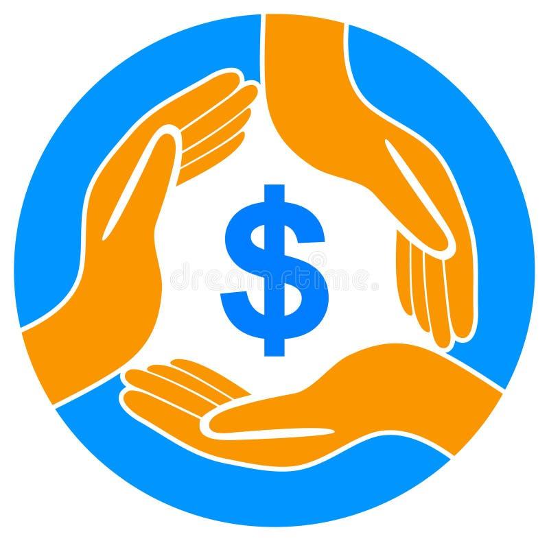 Simbolo di dollaro di risparmi dei soldi con le mani illustrazione di stock