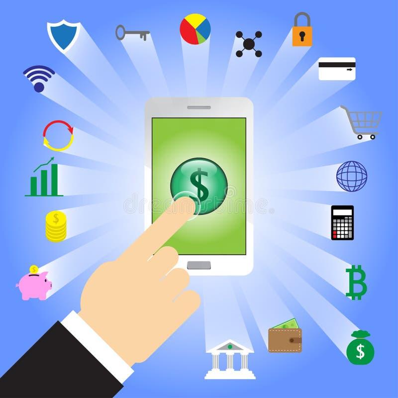 Simbolo di dollaro di spillatura del dito in Smartphone con le icone di Fintech illustrazione vettoriale