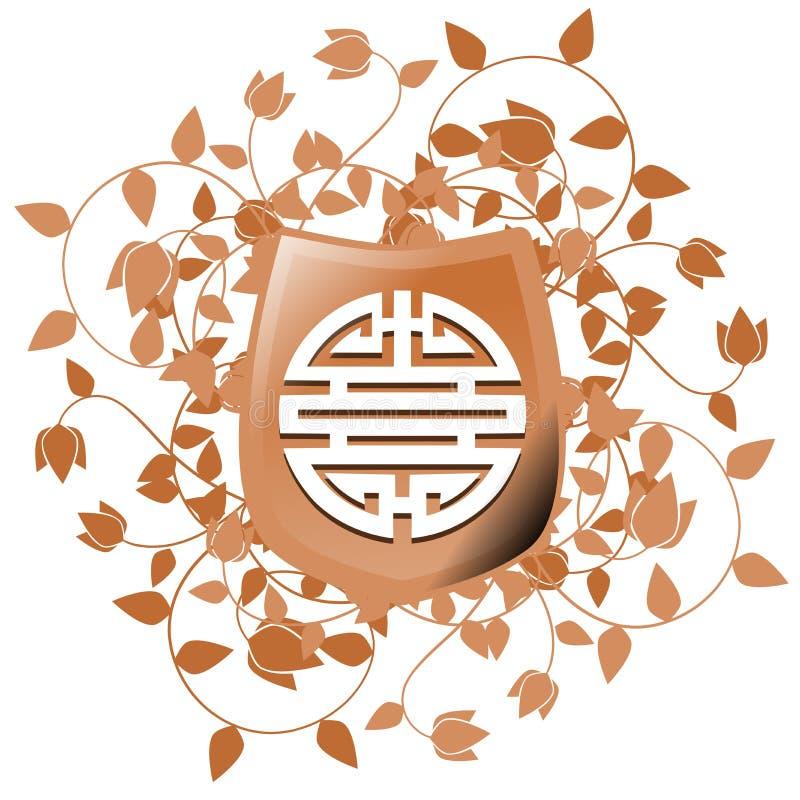 Simbolo di doppia felicità sullo schermo con fondo floreale isolato royalty illustrazione gratis