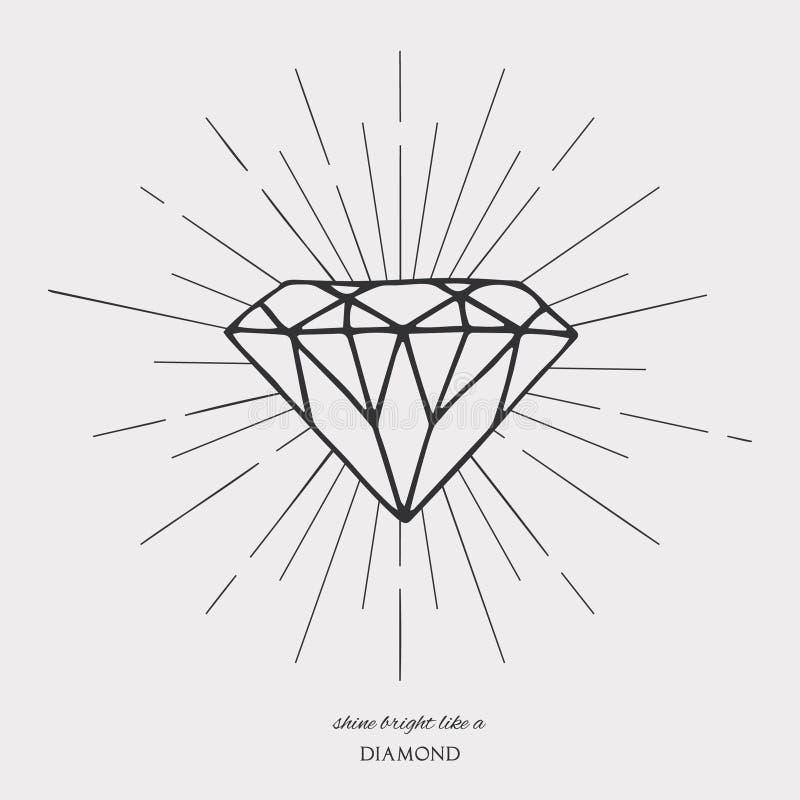 Simbolo di forma del diamante sul fondo della luce della stella illustrazione di stock