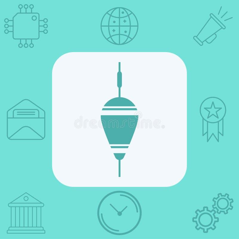 Simbolo di galleggiamento del segno dell'icona di vettore del bobber illustrazione di stock